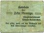 Banknoten Erbach-Reiskirchen. Gemeinde. Billet. 10 pfennig (1917), au dos, numérotation manuscrite en rouge
