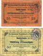 Banknoten Ergoldsbach. Marktgemeinde. Billets. 25 pf, 50 pf 15.1.1917