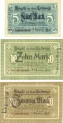 Banknoten Eschwege. Stadt. Billets. 5 mark, 10 mark, 20 mark 1918, annulation par cachet...