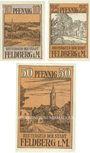 Banknoten Feldberg. Stadt. Billets. 10, 25, 50 pf (1922)
