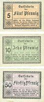 Banknoten Festenberg. Einkaufsgenossenschaft der Festenberger Kolonialwarenhändler. Billets. 5, 10, 50 pf