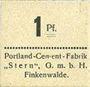 Banknoten Finkenwalde (Zdroje, Pologne). Portland Cement-Fabrik G.m.b.H. Billet. 1 pf (1919)