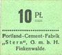 Banknoten Finkenwalde (Zdroje, Pologne). Portland Cement-Fabrik G.m.b.H. Billet. 10 pf (1919), vert clair