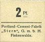 Banknoten Finkenwalde (Zdroje, Pologne). Portland Cement-Fabrik G.m.b.H. Billet. 2 pf (1919)