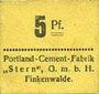 Banknoten Finkenwalde (Zdroje, Pologne). Portland Cement-Fabrik G.m.b.H. Billet. 5 pf (1919)