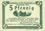 Banknoten Gardelegen. Kaufmännischer Verein. Billet. 5 pf 1.5.1920, 2e émission
