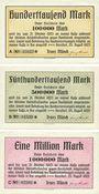 Banknoten Gersdorf. Franz Münch. Billets. 100 000, 500 000, 1 million mark 25.8.1923