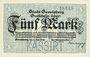 Banknoten Gevelsberg. Stadt. Billet. 5 mark 5.11.1918, annulation par perforation KASSIRT