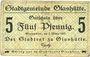 Banknoten Glashütte. Stadt. Billet. 5 pf 1.3.1917