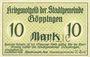 Banknoten Göppingen. Stadt. Billet. 10 mark nov. 1918, annulation par perforation UNGULTIG
