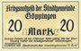 Banknoten Göppingen. Stadt. Billet. 20 mark nov. 1918, annulation par perforation UNGULTIG