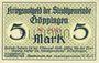 Banknoten Göppingen. Stadt. Billet. 5 mark nov. 1918, annulation par perforation UNGULTIG