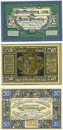 Banknoten Greiffenberg (Gryfow Slaski, Pologne). Stadtsparkasse. Billets. 10 pf, 25 pf, 50 pf 19.4.1920