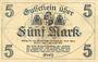 Banknoten Greiz. Stadt. Billet. 5 mark 1.11.1918