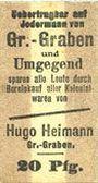 Banknoten Groß-Graben. Hugo Heimann. Kolonialwaren. Billet. 20 pf