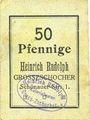 Banknoten Grosszschocher. Heinrich Rudolph. Kolonialwaren. Billet. 50 pfennig