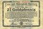 Banknoten Hamburg. Finanzdeputation der Freien und Hansestadt. Billet. 21 Goldpfennig 7.11.1923