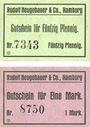 Banknoten Hamburg. Neugebauer & Co. Rudolf. Billets. 50 pf, 1 mark