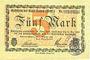 Banknoten Hamm. Stadt. Billet. 5 mark 7.10.1918, annulation au dos par cachet du musée sur 1 ligne