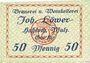 Banknoten Hassloch. Löwer Joh.. Brauerei und Weinkellerei. Billet. 50 pf, sans signature