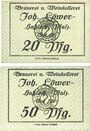 Banknoten Hassloch. Löwer Joh.. Brauerei und Weinkellerei. Billets. 20 pf, 50 pf, sans signature