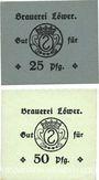 Banknoten Hassloch. Löwer Joh.. Brauerei und Weinkellerei. Billets. 25, 50 pf sans cachet ni signature au dos