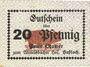 Banknoten Hassloch. Stamer Peter, zum Wittelsbacher Hof. Billet. 20 pf, signature manuscrite au do