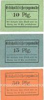 Banknoten Herzogswalde. Grafschaft Glatz Erbscholtisei. Série de 3 billets. 10 pf, 15 pf, 50 pf n. d., réimp.