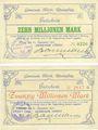 Banknoten Hordt. Gemeinde. Billets. 10 millions mark, 20 millions mark 22.9.1923