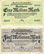 Banknoten Karlsruhe Direction du Transport ferroviaire. Billets. 1 million mk, série F, 5 millions mk, série E