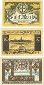 Banknoten Konstanz. Stadt. Série de 3 billets. 5, 10, 20 mark novembre 1918
