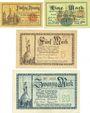 Banknoten Allemagne, Lippe, Fürstlich Lippische Regierung, Detmold, billets 50 pf, 1, 5, 20 mk 13.11.1918