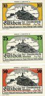 Banknoten Kahla. Leuchtenburg-Wirtschaft. Série de 3 billets. 10, 25, 50 pf, 1ère série : Walpurgisnacht