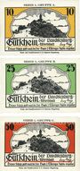 Banknoten Kahla. Leuchtenburg-Wirtschaft. Série de 3 billets. 10 pf, 25 pf, 75 pf n. d. (30 avril)