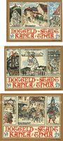 Banknoten Kahla. Stadt. Série de 3 billets. 10 pf, 25 pf, 50 pf 1921, série rues de la ville