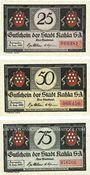 Banknoten Kahla. Stadt. Série de 3 billets. 25 pf, 50 pf, 75 pf 15.8.1921, série Muck