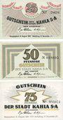 Banknoten Kahla. Stadt. Série de 3 billets. 25 pf, 50 pf, 75 pf 15.8.1921, série porcelaine