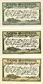 Banknoten Kahla. Stadt. Série de 3 billets. 25 pf, 50 pf, 75 pf 15.9.1921, série Hindenbourg II