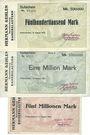 Banknoten Kaiserslautern. Hermann Gehlen. Baunternehmung. Billets. 500000 mk, 1 million mk, 5 millions mk 1923