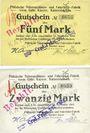 Banknoten Kaiserslautern. Pfälzische Nähmaschinen= & Fahrräder,  Fabrik vorm Gebrüder Kayser. Billets 5, 20 mk