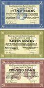 Banknoten Kaiserslautern. Stadt. Billets. 5, 10, 20 mark 10.10.1918, annulation par perforation