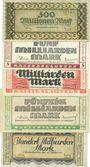Banknoten Kaiserslautern. Stadt. Billets. 500 millions, 5, 10, 50, 100 milliards mark 10.10.1923