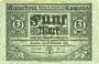 Banknoten Kamenz. Amtshauptmannschaft. Billet. 5 mark 15.11.1918. Annulation par numérotation barrée en bleu
