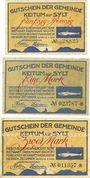 Banknoten Keitum / Stylt. Gemeinde. Billets. 50 pf, 1 mark, 2 mark 15.4.1920