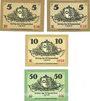 Banknoten Kemberg. Stadt. Billets. 50 pf série D et E, 10 pf série E, 50 pf série D