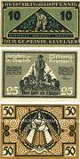 Banknoten Kevelaer. Gemeinde. Série de 3 billets. 10 pf, 25 pf, 50 pf 1.6.1921