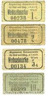Banknoten Kiel. Allgemeiner Konsumverein für Kiel und Umg. e.G.m.b.H. Billets. 1 pf, 2 pf, 5 pf, 10 pf