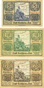 Banknoten Kirchheim u. Teck. Stadt. Billets. 5, 10, 20 mark 31.10.1918. Annulation par cachet Ungültig