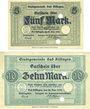Banknoten Kissingen, Bad. Stadt. Billets. 5, 10 mark 20.10.1918, sans numérotation