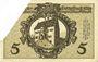 Banknoten Kitzingen. Distriktsgemeinde. Dettelbach, Marktbreit. Billet. 5 mark 9.11.1918